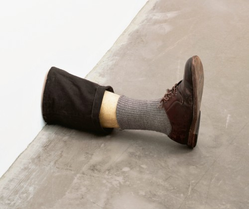 Robert Gober. Untitled Leg, 1989–90. Beeswax, cotton, wood, leather, human hair. 11 3/8 x 7 3/4 x 20 in  (28.9 x 19.7 x 50.8 cm). The Museum of Modern Art, New York. Gift of the Dannheisser Foundation. © 2014 Robert Gober.