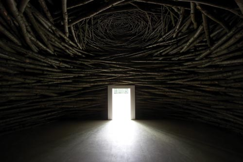 Andy Goldsworthy. <em>Wood Room</em>, 2007. Coppiced sweet chestnut, cropped from woodland in Kent. Photo: Jonty Wilde.