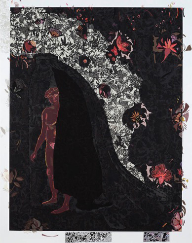 Charlotte Hodes. Silhouette in Grey. Paper cut, 112 x 142 cm.