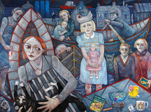 Joyce Cairns. The Magic Gate and Other Stories. Oil on board, 195 x 256 cm.