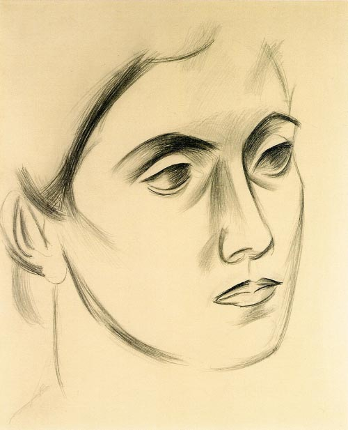 Arshile Gorky. <em>Portrait of Vartoosh, </em>1927. Pencil on card. Calouste Gulbenkian Foundation, Lisbon.