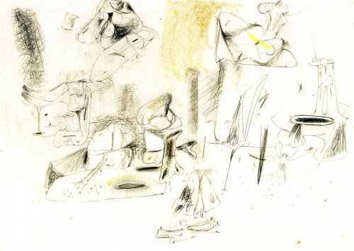 Arshile Gorky. <em>Study for The Calendars</em>, c. 1946. Pencil and colour crayon on paper, 48.3 x 63.5 cm. Calouste Gulbenkian Foundation, Lisbon.
