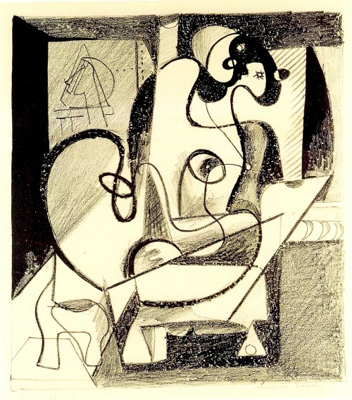 Arshile Gorky. <em>Painter and Model (The Creation Chamber)</em>, 1931. Lithograph on paper, 28.6 x 25.1 cm. Smithsonian Modern Art Museum, USA.
