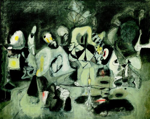 Arshile Gorky. <em>Diary of a Seducer, </em>1945. Oil on canvas, 126.7 x 157.5 cm. The Museum of Modern Art, New York.© 2007 Estate of Arshile Gorky/Artists Rights Society (ARS), New York.