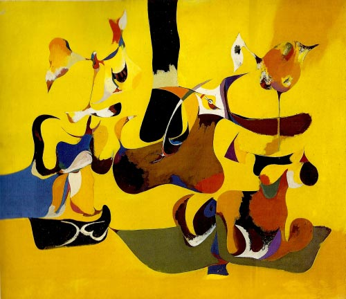 Arshile Gorky. <em>Garden in Sochi, </em>1941. Oil on canvas, 64 x 74 cm. The Museum of Modern Art, New York. © 2007 Estate of Arshile Gorky/Artists Rights Society (ARS), New York.