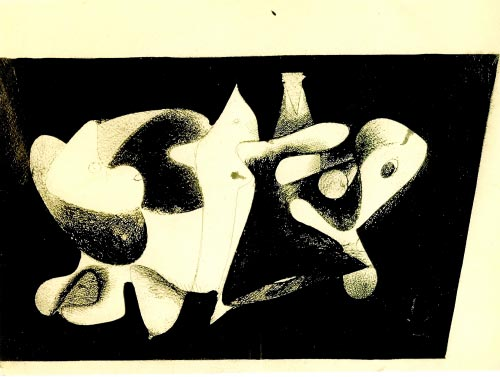 Arshile Gorky. <em>Nighttime, Enigma and Nostalgia</em>, c. 1931-1932. Chinese ink on paper, 55.3 x 74.4 cm. Whitney Museum of American Art, New York. &copy; Estate of Arshile Gorky/Artists Rights Society (ARS), New York.