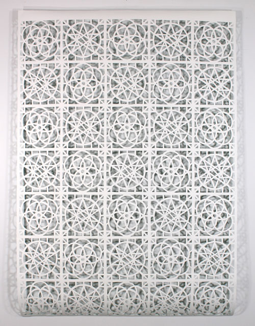 Reni Gower. Papercuts: White/emerald, 2013. Acrylic on hand-cut paper, 81 x 56 in.