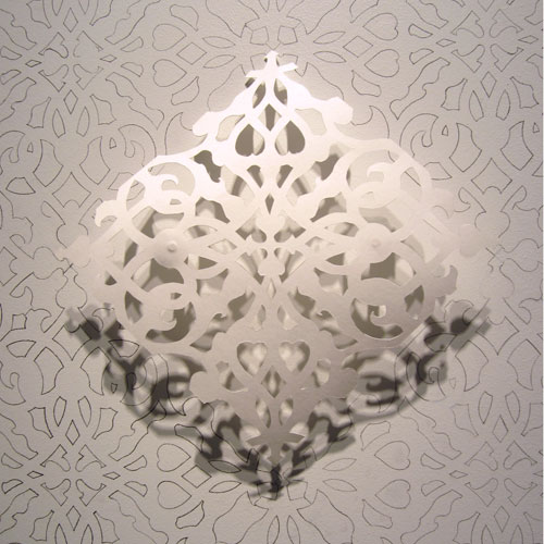 Julia Townsend. Untitled (detail), 2013. Hand-cut paper and wall tracing, 72 x 48 in.