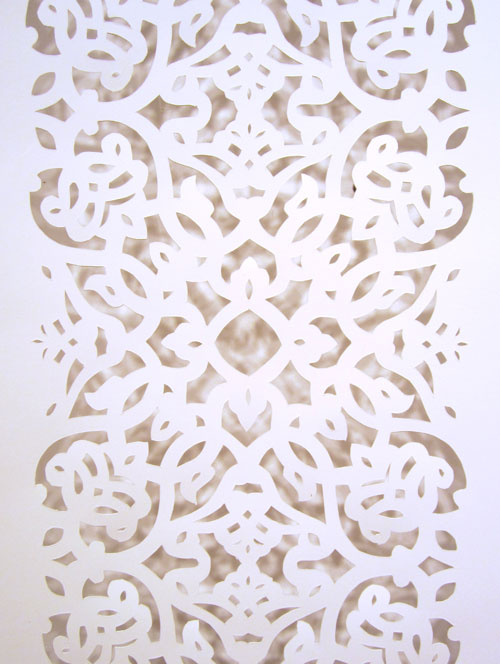 Tamim Sahebzada. Islamic Design (detail), 2013. Hand-cut paper, 62 x 13 in.