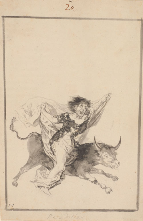 Francisco Goya. Pesadilla (Nightmare), 'Black Border' Album (E), page 20, c1816-20. Brush, black ink with wash and scraping 