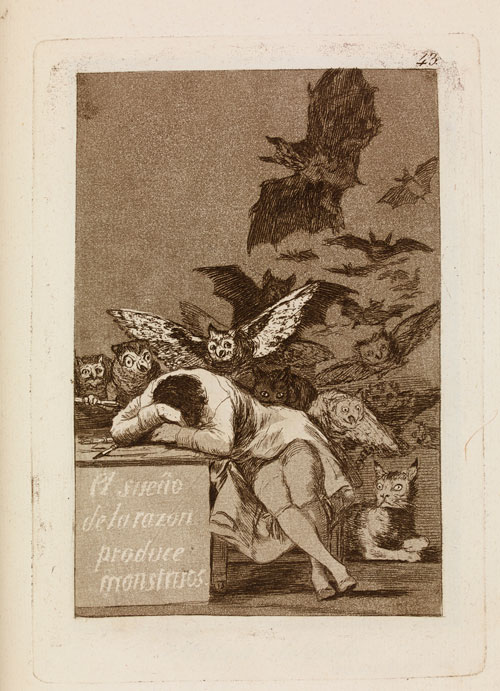 Francisco Goya. El sueno de la razon produce monstruos (The sleep of reason produces monsters), 'Los Caprichos' 43, in the Cean Bermudez trial (first edition) set, 1799, c1797-98. Etching, aquatint, drypoint and burin, 21.7 x 15.3 cm. London, The British Museum.