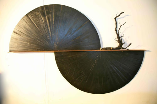 Anne Graham. Dark Angel, 2014. Cedar, MDF, copper, grevillea and clay, 65 x 130 x 10cm.