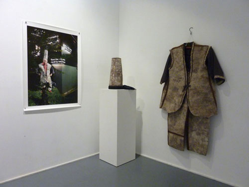 Joni and Bacon (photograph), and dog hair felted. Installation view at William Wright Artists Projects, September 2014.