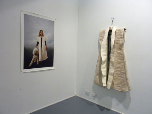 Julie and Cloud (photograph), and dog hair felted. Installation view at William Wright Artists Projects, September 2014.