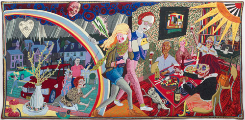 Grayson Perry. <em>Expulsion from Number 8 Eden Close</em>, 2012. Wool, cotton, acrylic, polyester and silk tapestry, 200 x 400 cm (78 3/4 x 157 1/2 in), edition of 6 plus 2 artist's proofs. Courtesy the Artist and Victoria Miro Gallery, London.