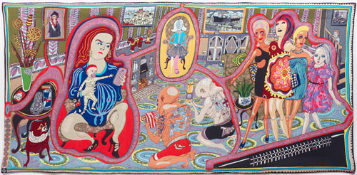 Grayson Perry. <em>The Adoration of the Cage Fighters</em>, 2012. Wool, cotton, acrylic, polyester and silk tapestry, 200 x 400 cm (78 3/4 x 157 1/2 in), edition of 6 plus 2 artist's proofs. Courtesy the Artist and Victoria Miro Gallery, London.