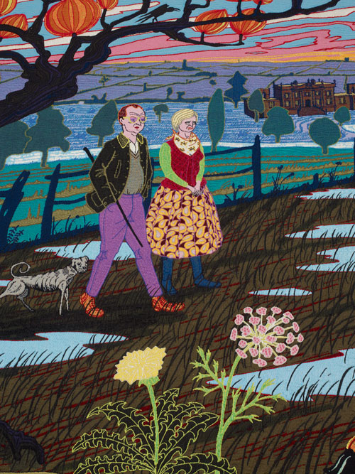 Grayson Perry. The Upper Class at Bay, 2012 (detail). Wool, cotton, acrylic, polyester and silk tapestry, 200 x 400 cm (78 3/4 x 157 1/2 in),  edition of 6 plus 2 artist's proofs. Courtesy the Artist and Victoria Miro Gallery, London.