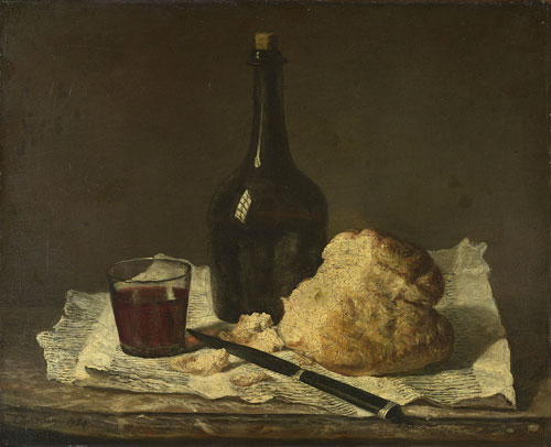 Imitator of Jean-Siméon CHARDIN, 1699–1779.<strong> </strong><em>Still Life with Bottle, Glass and Loaf, </em>19th century. Oil on canvas, 38.1 x 45.1 cm. Presented by Lord Savile, 1888. © The National Gallery, London.
