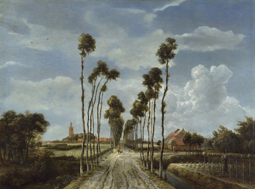 Hobbema's design with the avenue of trees receding towards the centre of the picture is simple yet at the same time majestic. The trees are employed to mark the quick recession from foreground to background while the expanse of sky is emphasised by the upward-pointing trees. Unfortunately the paint of the sky was damaged by cleaning some time in the 19th century; the billowing cloud to the right is the best preserved section.