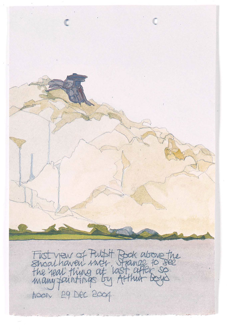 Philip Hughes. First view of Pulpit Rock, Bundanon, 2004. Acrylic and gouache on paper, 60 x 60 cm. Image courtesy the artist.