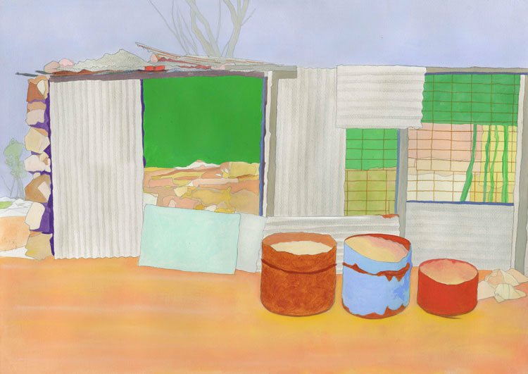 Philip Hughes. Lightning Ridge: Miner's Hut 2019-20. Acrylic and pastel on paper. Image courtesy the artist.