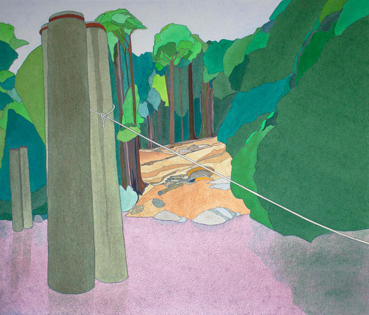 Philip Hughes. Warners Landing, Building the Access Road, 1983. Gouache and acrylic on paper. Image courtesy the artist.
