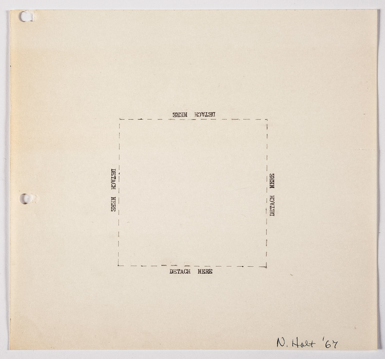 Nancy Holt, Detach Here, 1967. Ink and pencil on paper, 20.3 × 21.6 cm. © Holt/Smithson Foundation, Licensed by VAGA at ARS, New York.