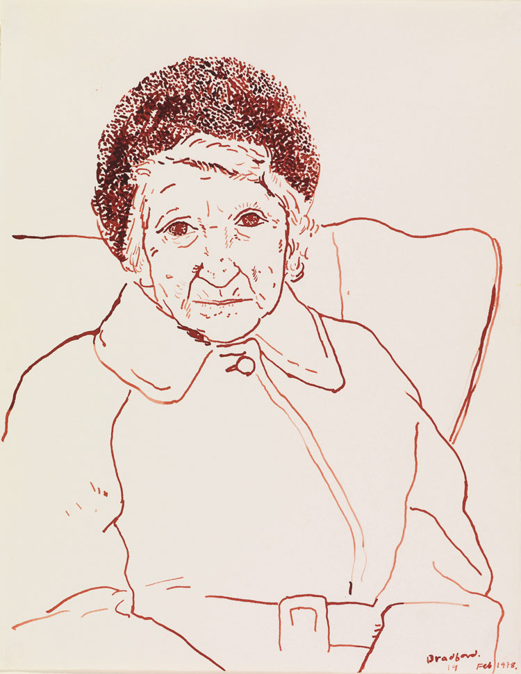 David Hockney. Mother, Bradford. 19 Feb 1979. Sepia ink on paper, 14 x 11 in. © David Hockney. Photo: Richard Schmidt, Collection The David Hockney Foundation.