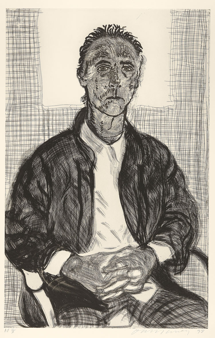 David Hockney. Maurice 1998. Etching, 44 x 30 ½ in. © David Hockney. Photo: Richard Schmidt, Collection The David Hockney Foundation.