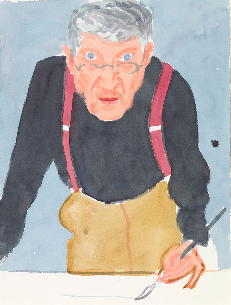 David Hockney. Self Portrait with Red Braces, 2003. Watercolour on paper, 24 x 18 1/8 in. © David Hockney. Photo: Richard Schmidt.