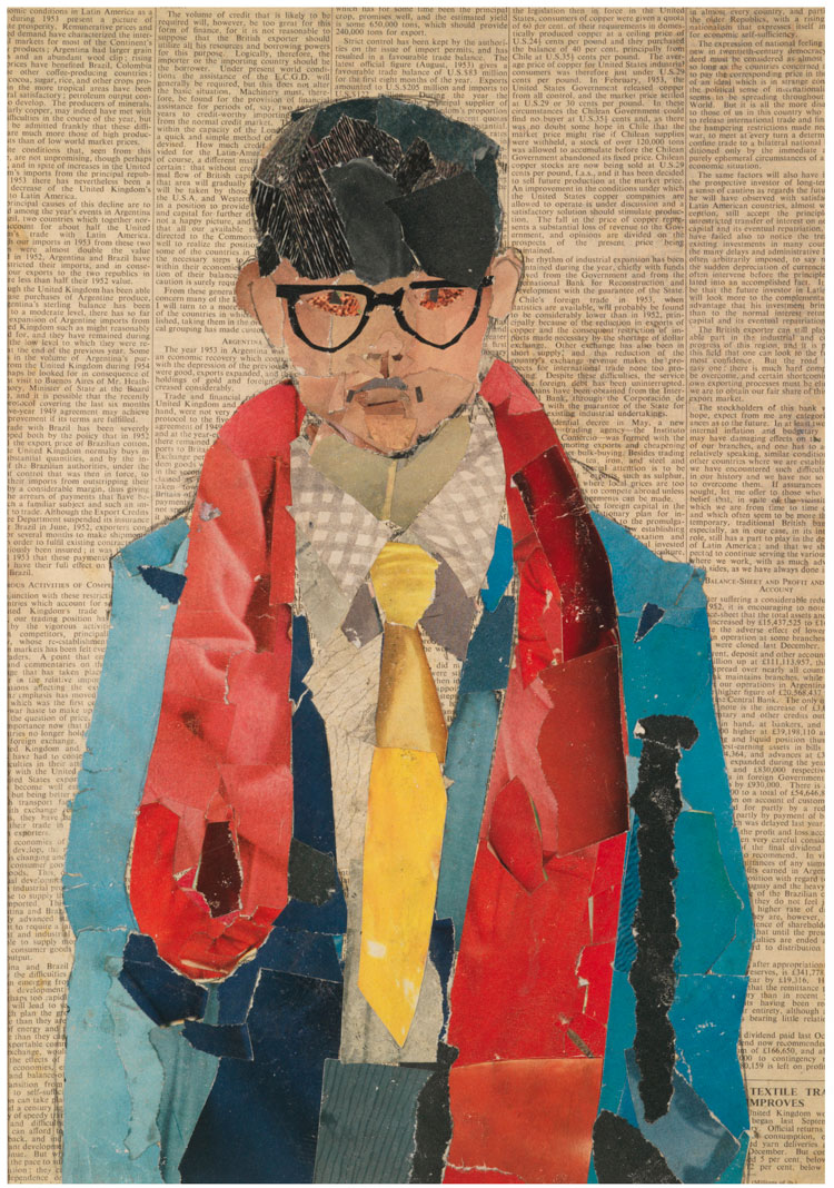 David Hockney. Self Portrait, 1954. Collage on newsprint, 16 ½ x 11 ¾ in. © David Hockney. Photo: Richard Schmidt, Collection Bradford Museums & Galleries, Bradford, UK.