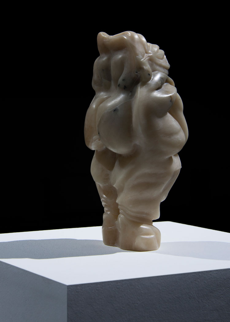 Marguerite Humeau. Venus of Hohle Fels, A 70-year-old female human has ingested a snake's brain, exhibition view, Kunstverein in Hamburg Year, 2019. Brown alabaster, a cappella voice, 155 mm (W) x 120 mm (D) x 295 mm (H). Photo: Julia Andréone. Courtesy the artist, CLEARING New York/Brussels.
