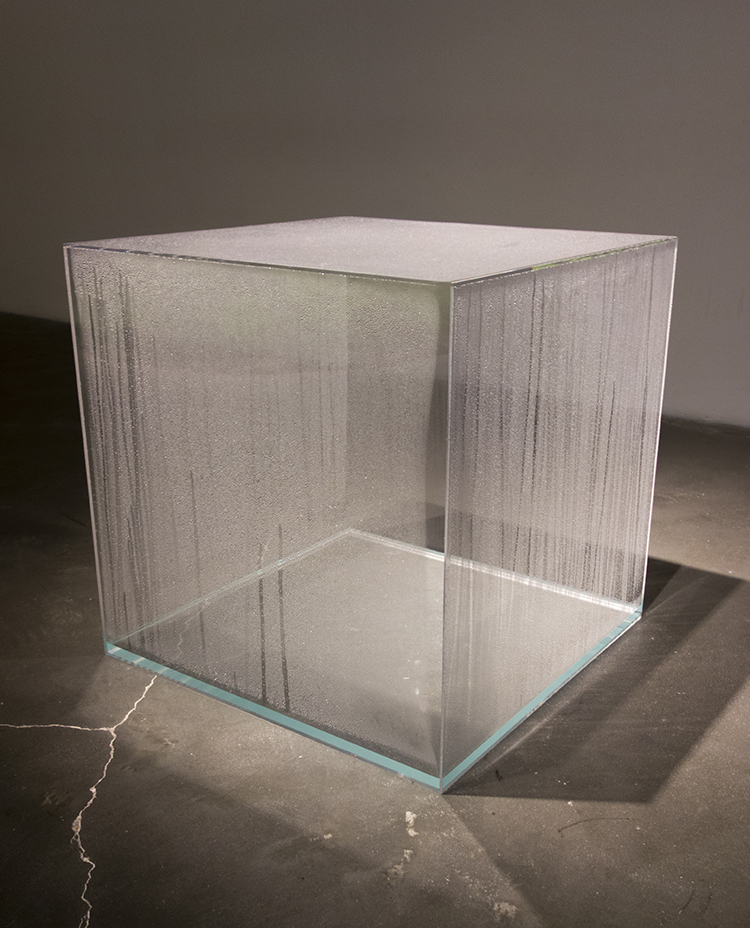 Hans Haacke, Condensation Cube, 1963-65. Clear acrylic, distilled water, and climate in area of display, 12 x 12 x 12 in. Photo: Antonio Rivera.
