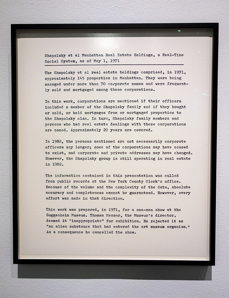 Hans Haacke, Shapolsky et al. Manhattan Real Estate Holdings a Real-Time Social System, as of May 1, 1971, 1971. Photo: Antonio Rivera.