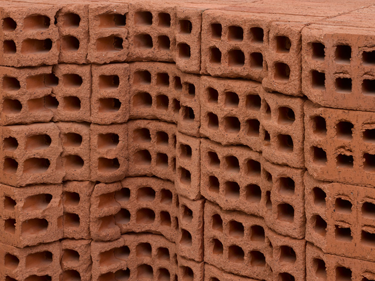 Mona Hatoum, A Pile of Bricks (detail), 2019. Bricks, wood, metal and rubber, 95 x 171 x 61 cm. © Mona Hatoum. Photo © White Cube (Theo Christelis).