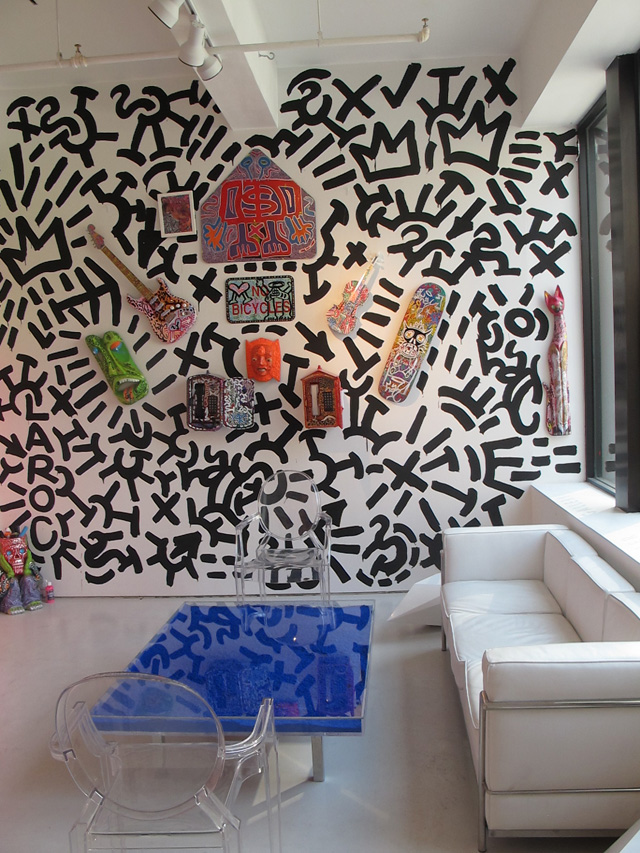 Caligrafitti in 2012 at Leila Heller Gallery in Chelsea featuring works by LA2 and table by Yves Klein.