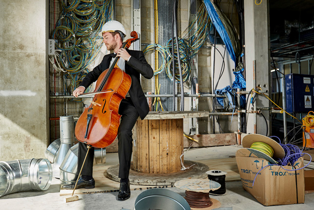 Callum Hüseyin and the Royal Philharmonic Orchestra, Let's Finish It. The Centre for Cancer Drug Discovery building site. Photo courtesy Institute of Cancer Research.