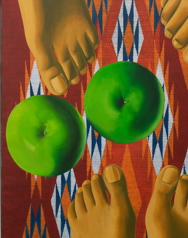 Luchita Hurtado, Encounter, 1971 (detail). Oil on canvas, 12 x 243.2 cm. © 2019 Luchita Hurtado. Photo: Hugo Glendinning.