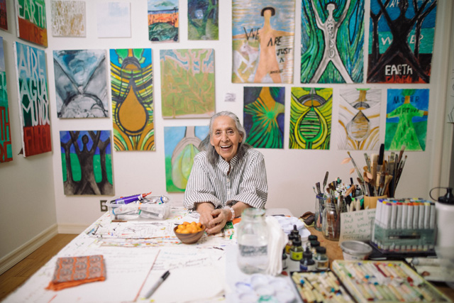 Luchita Hurtado, 2019. © Luchita Hurtado, Courtesy the artist and Hauser & Wirth. Photo: Oresti Tsonopoulos.