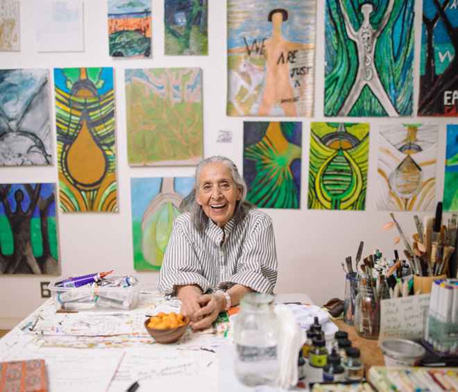 The 98-year old painter's debut institutional exhibition showcases a lifetime of work that fuses the human with the cosmic, while speaking keenly to the present