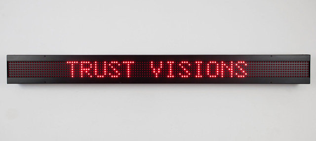 Jenny Holzer. Survival, 1989. LED sign with red diodes, 13.3 x 138.6 x 7.6 cm. Text: Survival, 1983–85. Courtesy Sprüth Magers. © 2019 Jenny Holzer, member Artists Rights Society (ARS), NY / VEGAP. Photo: Erik Sumption.