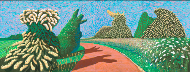 David Hockney. May Blossom on the Roman Road, 2009. Oil on 8 canvases, 36 x 48 in each, 72 x 192 in overall. © David Hockney. Photo: Richard Schmidt.