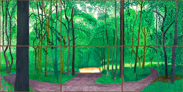 David Hockney. Woldgate Woods, 26, 27 & 30 July 2006. Oil on six canvases, 36 x 48 in each, 72 x 144 in overall. © David Hockney. Photo: Richard Schmidt.