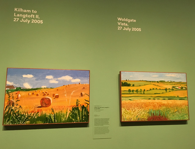 David Hockney, early oil landscapes, installation view, 