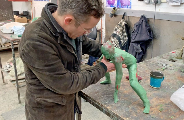 Joseph Hillier with the wax model of Messenger at Castle Fine Arts Foundry, Wales. Photo: Martin Kennedy.