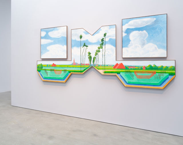 David Hockney. Tall Dutch Trees After Hobbema (Useful Knowledge), 2017. Acrylic on six canvases (two canvases: 36 x 36 in, four joined canvases: 24 x 48 in) overall installation dimensions 64 x 144 in (162.6 cm x 365.8 cm). Photograph courtesy Pace Gallery. © 2018 David Hockney.