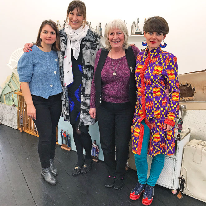 Curators Alexandra Kokoli and Basia Śliwińska and artists Su Richardson and Małgorzata Markiewicz at I'étrangère in London, March 2018. Photograph: Martin Kennedy.
