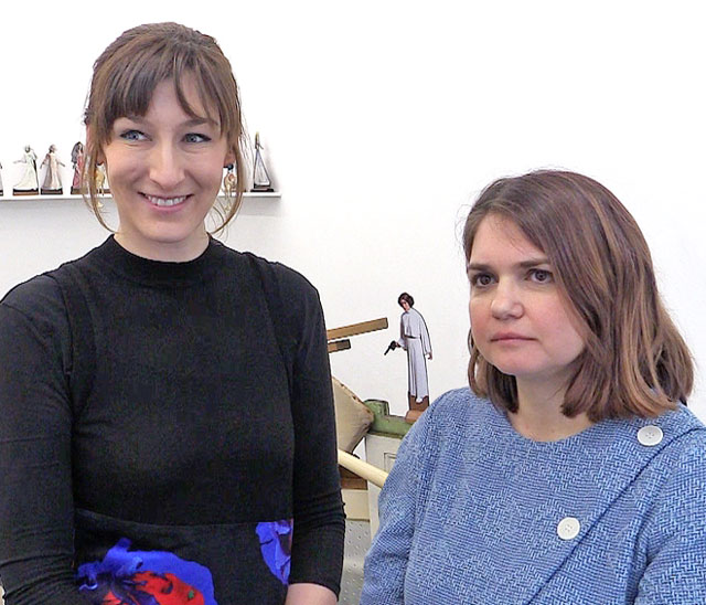 Curators Alexandra Kokoli (right) and Basia Śliwińska talk to Studio International about the exhibition Home Strike at I'étrangère in London, 8 March 2018. Photograph: Martin Kennedy.