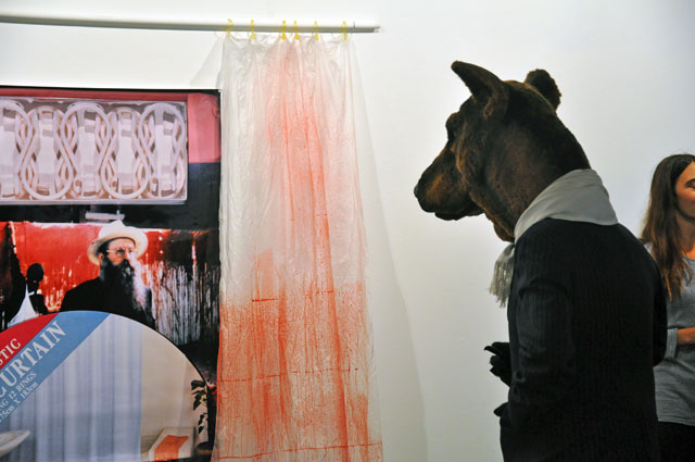 Peter Hill, The Hermann Nitsch Shower Curtain, 1988 - ongoing. With pop-up Performance by Michael Vale as The Smoking Dog, at Margaret Lawrence Gallery (VCA) Melbourne
