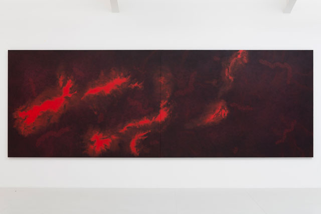 Shirazeh Houshiary. Genesis, 2016. Pigment and pencil on black aquacryl on aluminium, 74 3/4 x 212 5/8 in (190 x 540 cm). © Shirazeh Houshiary; Courtesy Lisson Gallery.